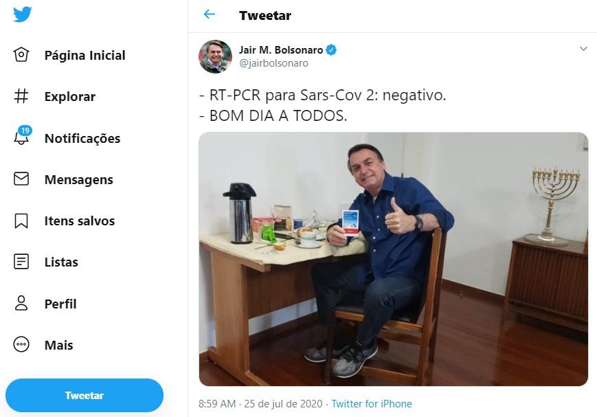 Bolsonaro publica tuíte sobre teste negativo para Covid-19