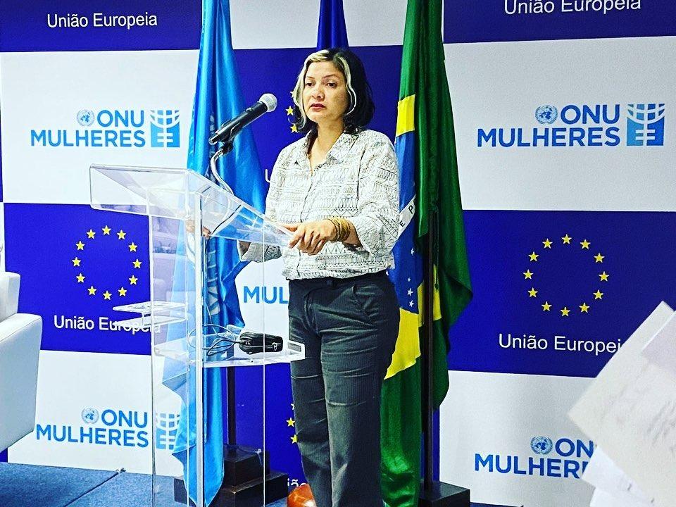 Claudelice em abertura de projeto da ONU Mulheres, em fevereiro, em Brasília