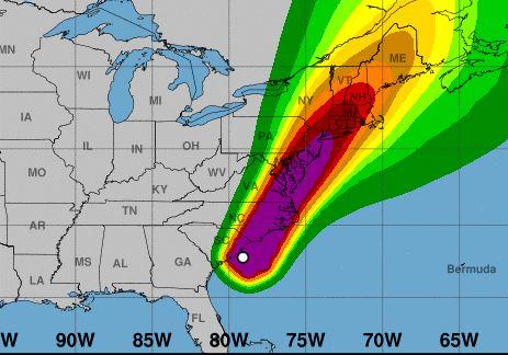 Mapa mostra expectativa de velocidade de ventos pelo furacão Isaias