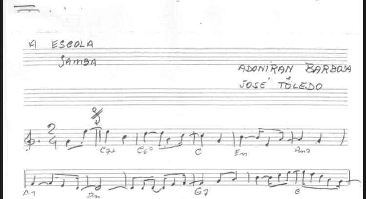 """Partitura da música """"A Escola"""", que foi gravada na voz do cantor Zé Ibarra"""