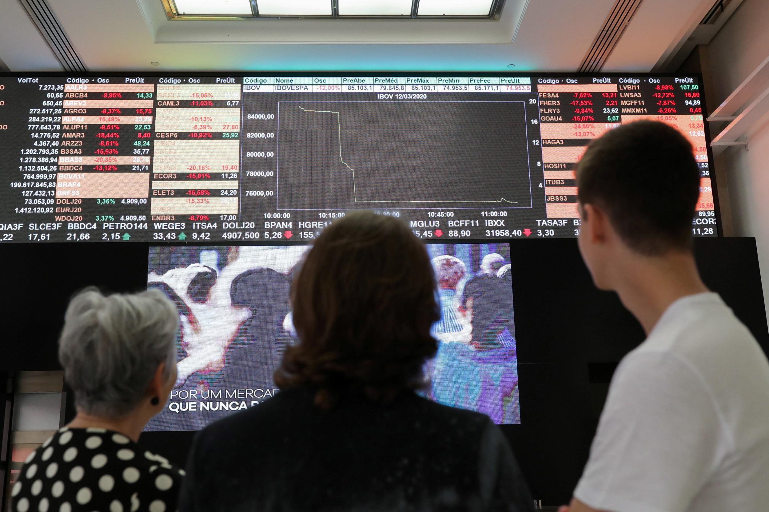 Pessoas olham o painel da B3 em dia de interrupção dos negócio (circuit breaker)