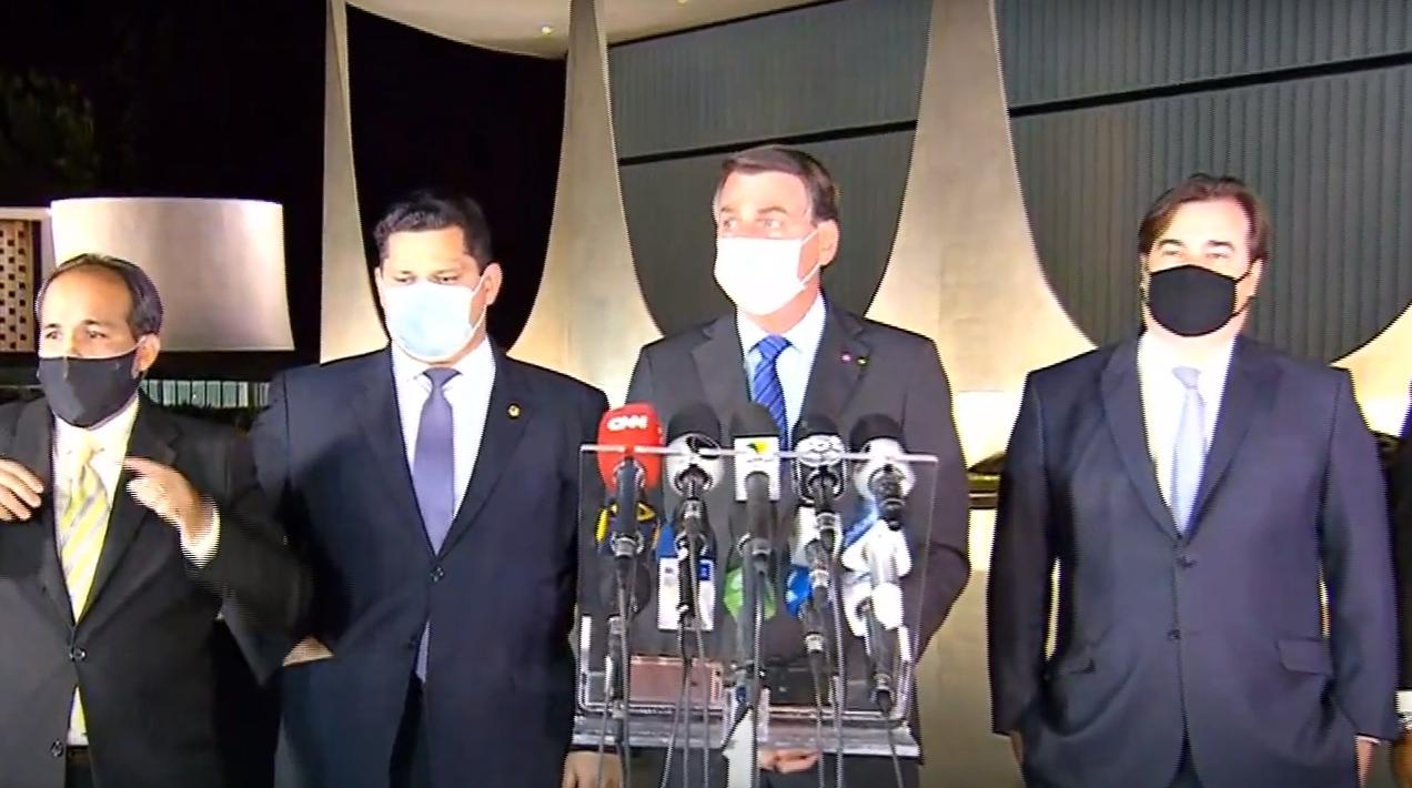 Jair Bolsonaro, Rodrigo Maia e Davi Alcolumbre