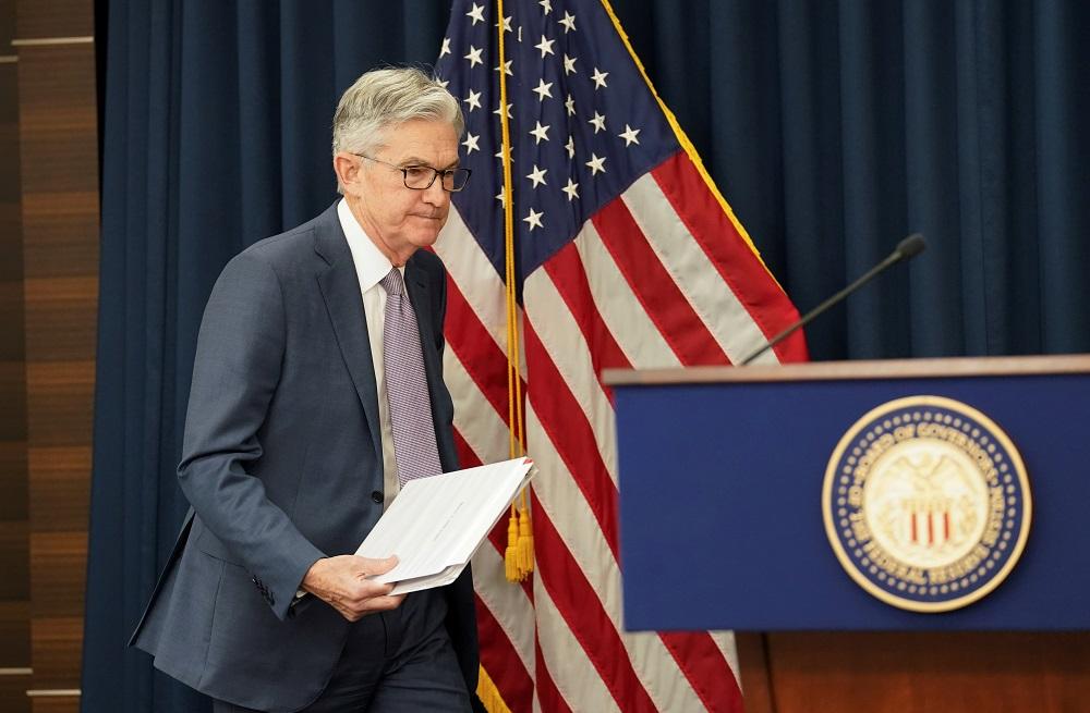 Chaiman do Federal Reserve, Jerome Powell, chega para entrevista coletiva em Was
