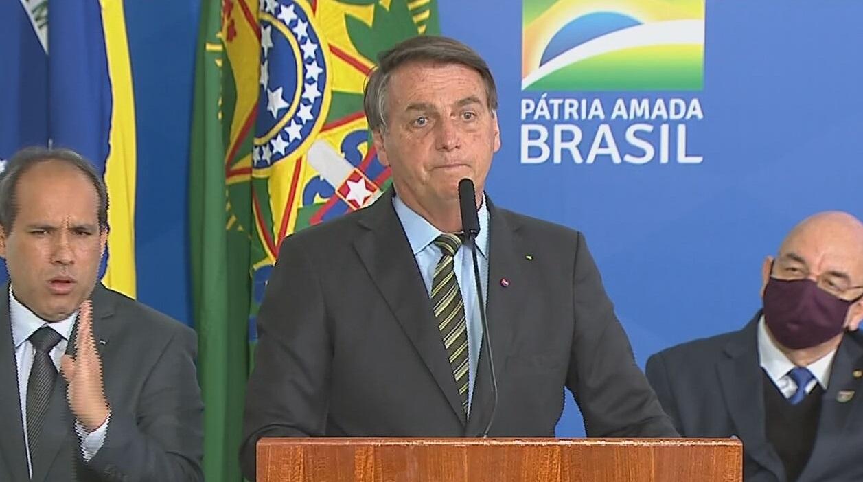 O presidente Jair Bolsonaro durante evento 'Encontro Brasil vencendo a Covid-19'