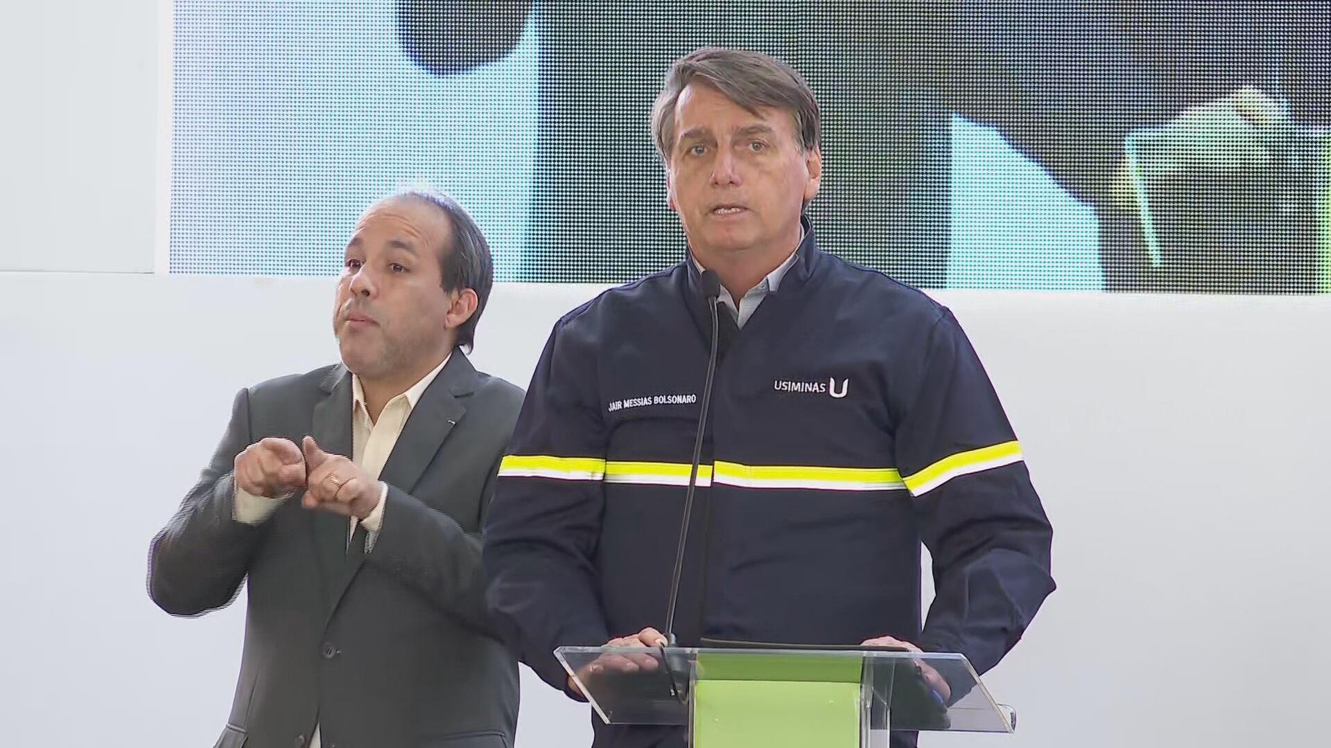 Bolsonaro discursa durante evendo da Usiminas