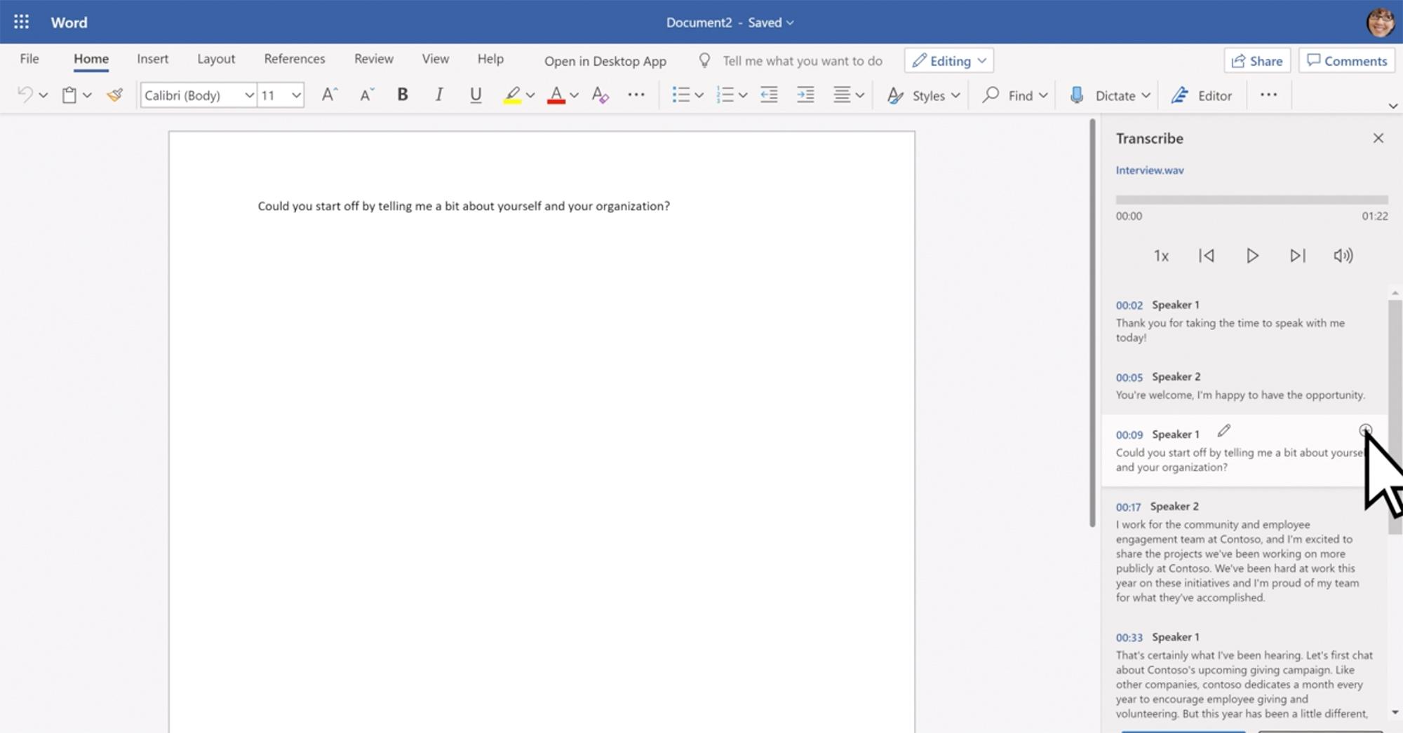 A nova função do Microsoft Word coloca a transcrição ao lado do texto principal
