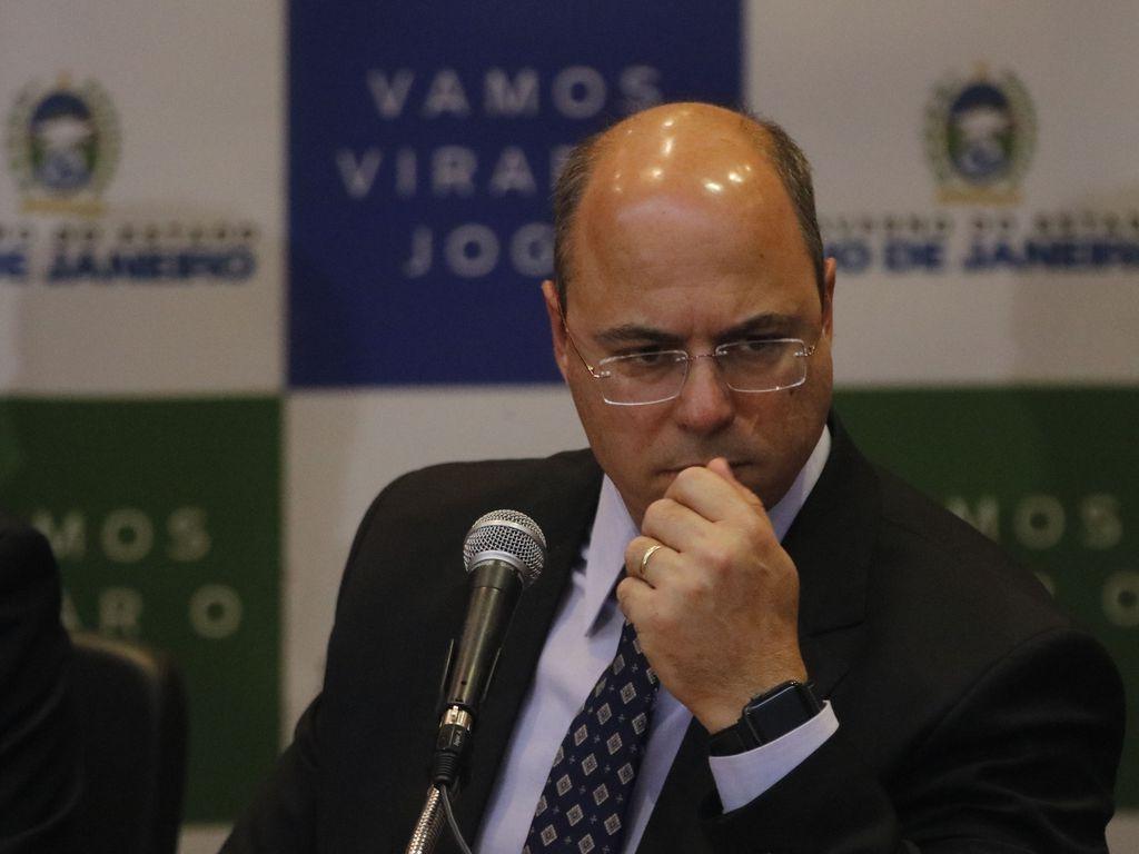 O governador do Rio de Janeiro, Wilson Witzel, durante pronunciamento