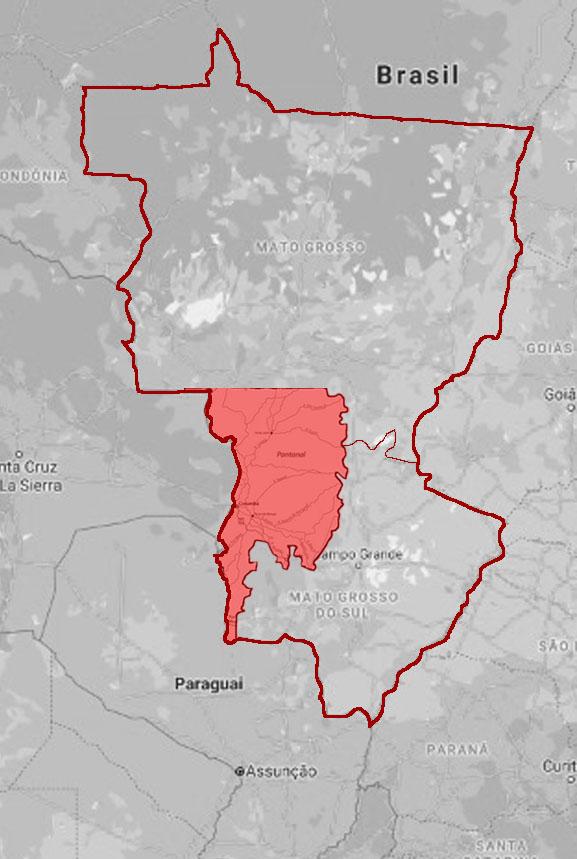Mapa do Pantanal brasileiro