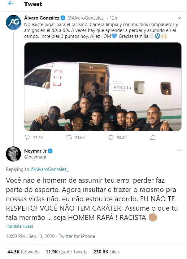 Neymar respondeu Álvaro González no Twitter