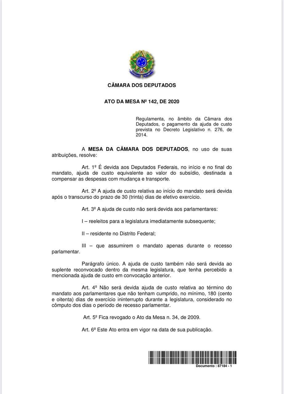 Decisão Rodrigo Maia sobre auxílio mudança