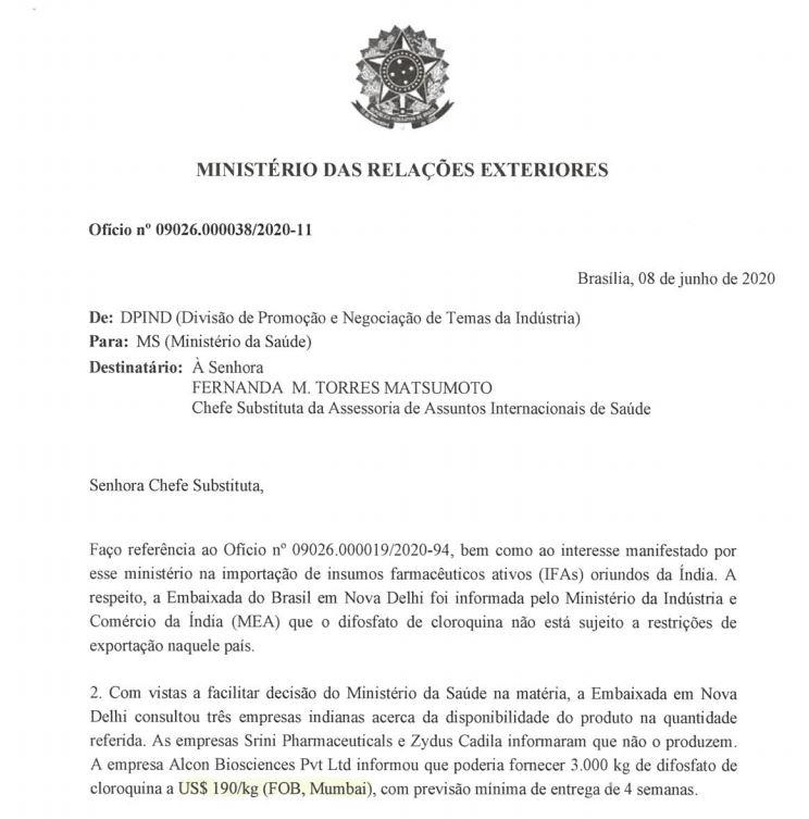 Ofício do Ministério das Relações Exteriores sobre cloroquina