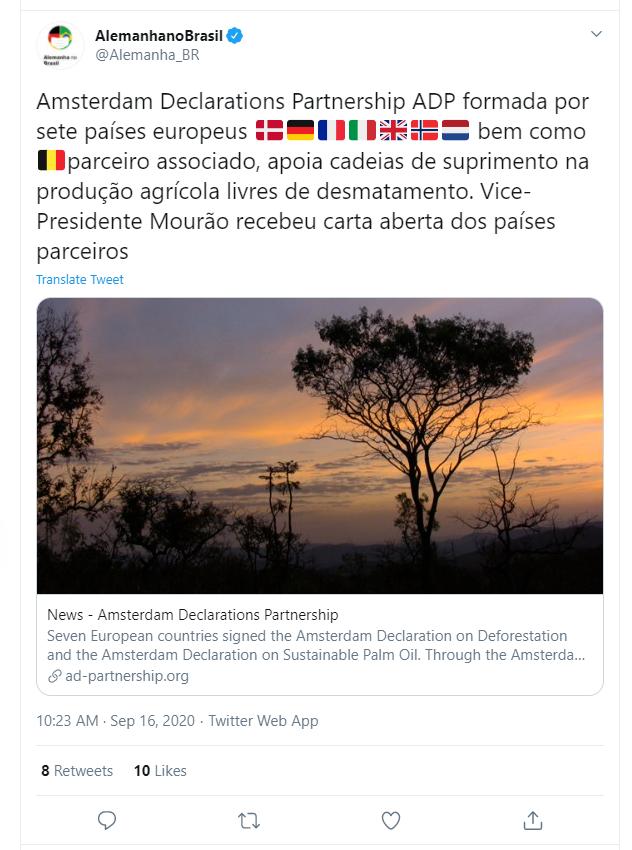 Print do tweet da embaixada alemã
