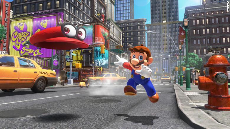 """Em """"Super Mario Odyssey, Mario explora vários mundos"""
