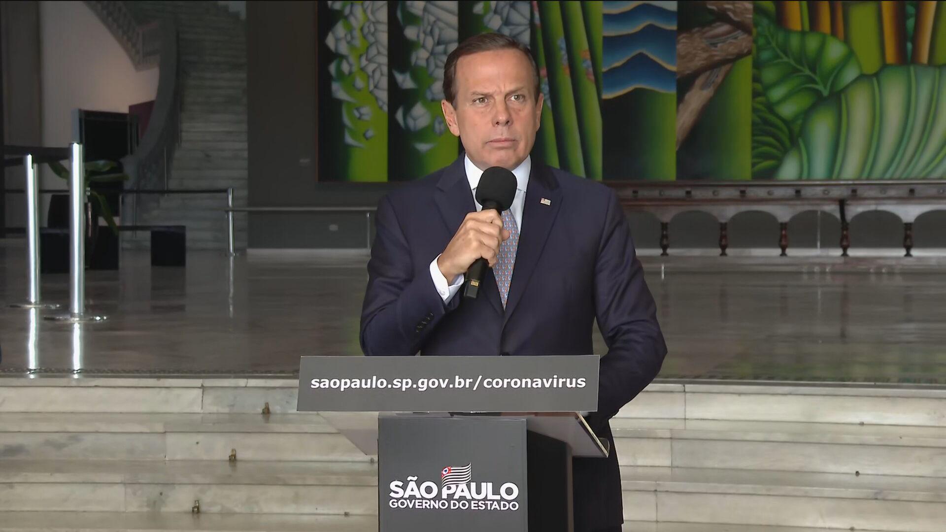 O governador João Doria durante coletiva de imprensa sobre coronavírus