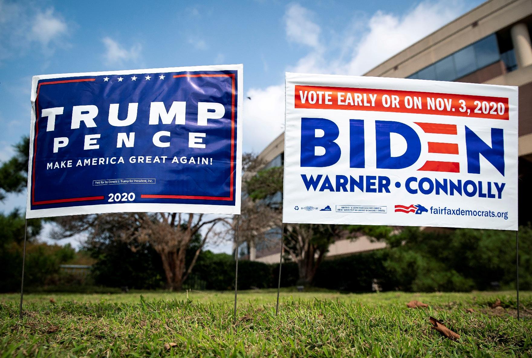 Cartazes Campanhas de Joe Biden e Donald Trump