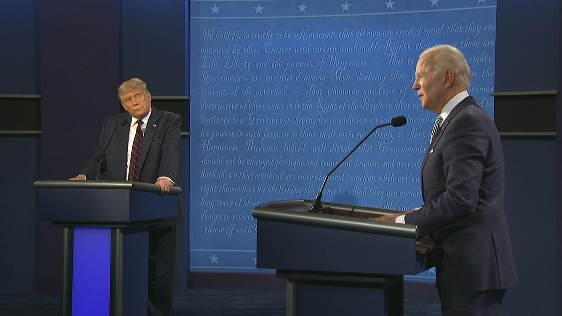O republicano Donald Trump e o democrata Joe Biden durante primeiro debate
