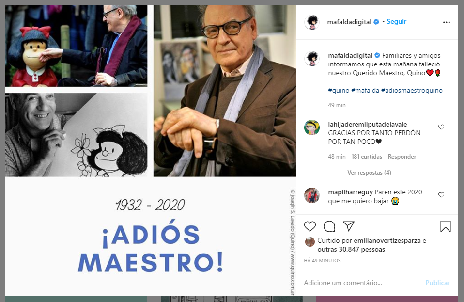 Post no Instagram da Mafalda