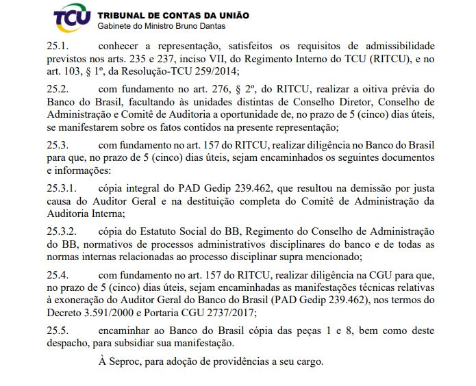 Página de despacho do ministro Bruno Dantas