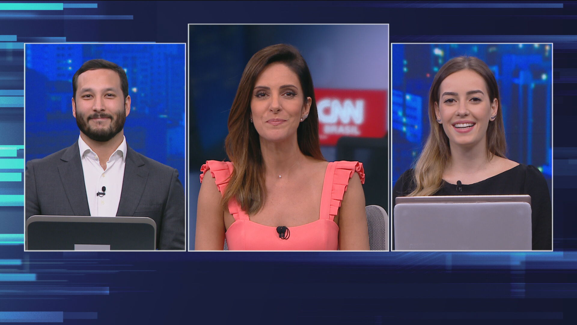 Guilherme Suguimori, Monalisa Perrone e Maria Fernanda Saad durante O Grande Deb