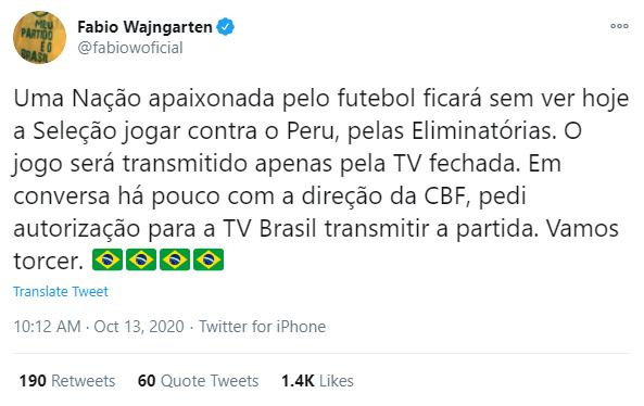 Postagem de Fabio Wajngarten em rede social sobre a partida