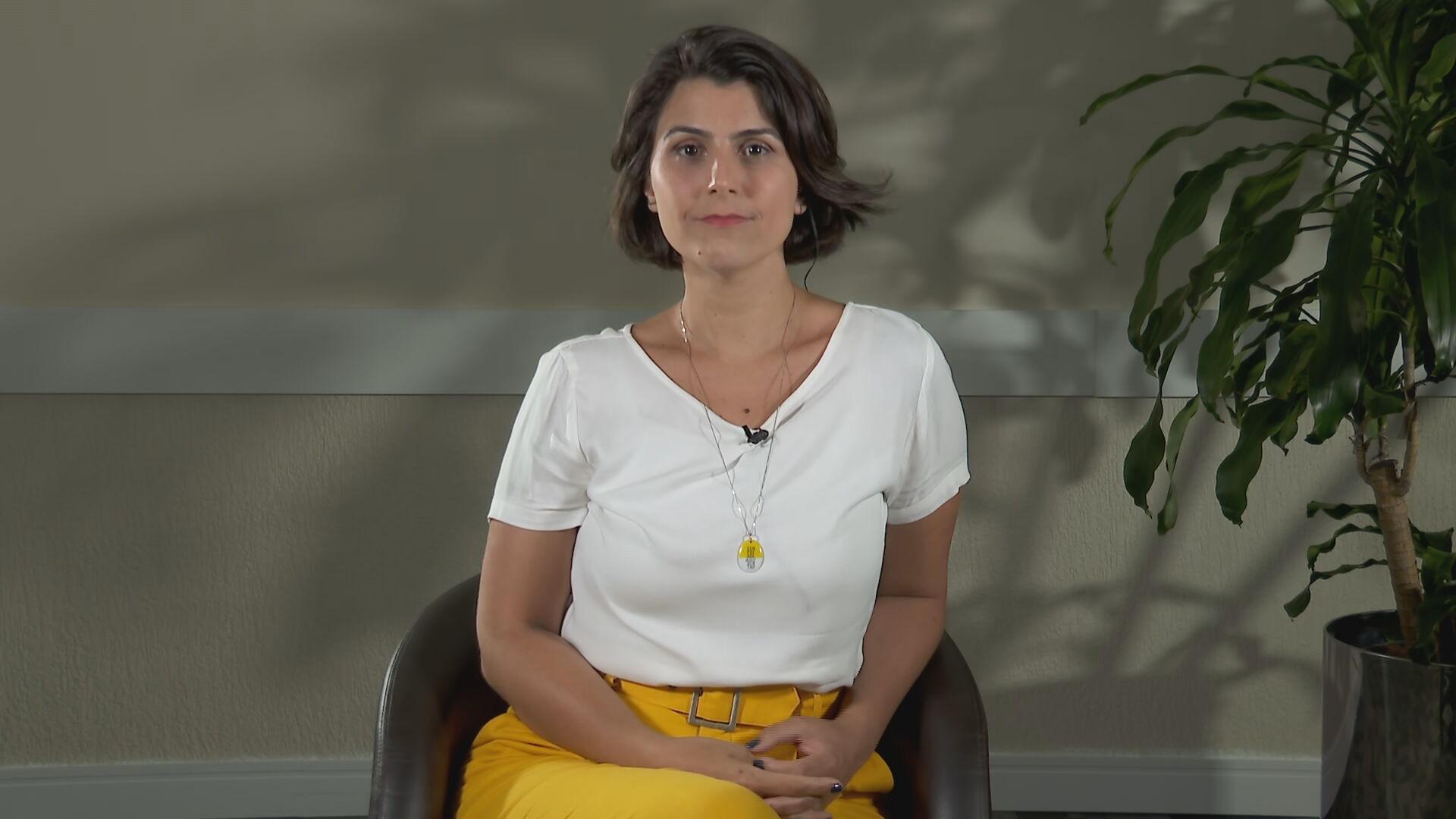 Candidata a prefeitura de Porto Alegre, Manuela D'Avila (PCdoB), em entrevista p