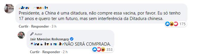 Comentário do presidente no Facebook