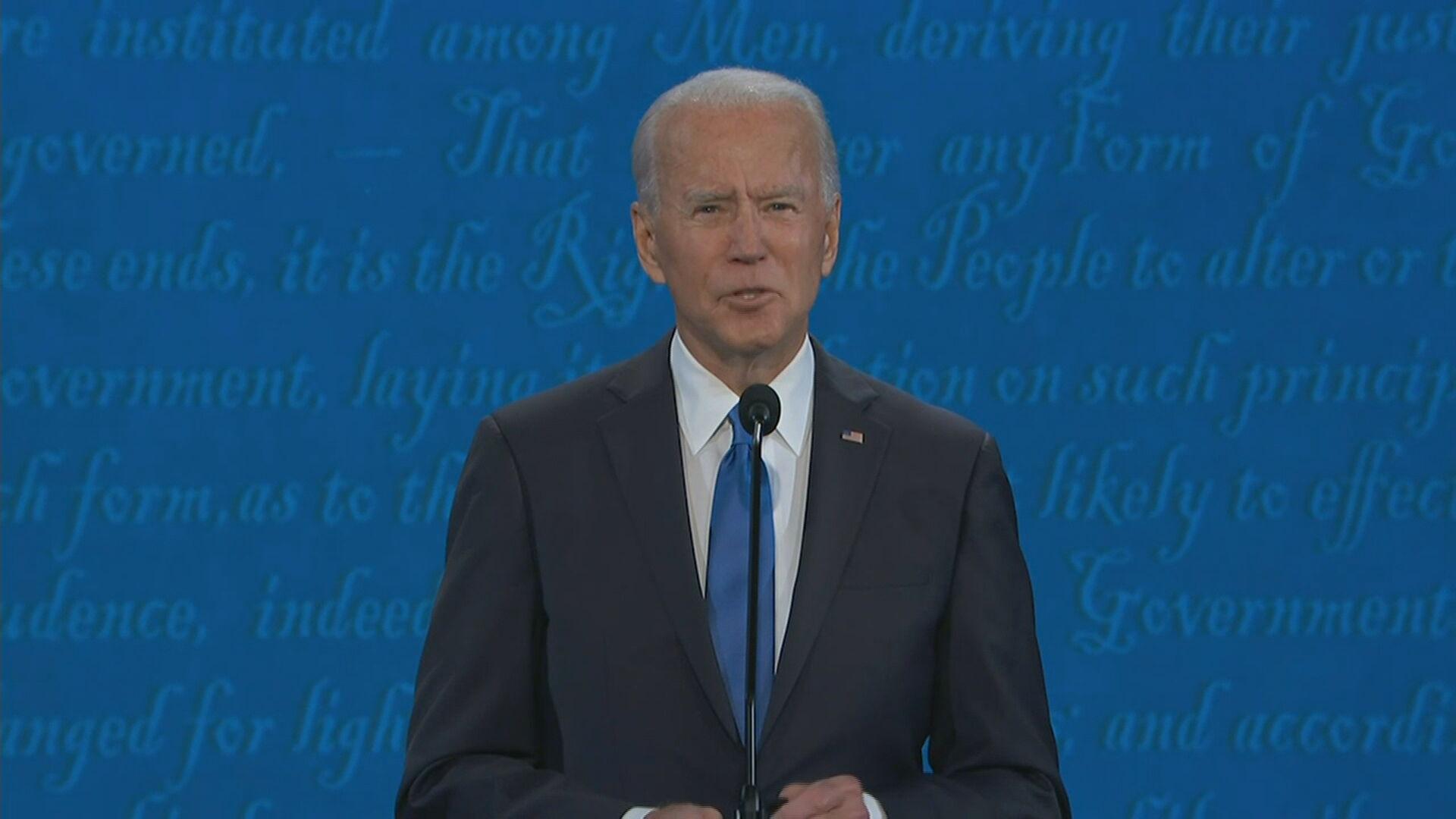 Joe Biden durante o último debate antes da eleição presidencial dos Estados Unid