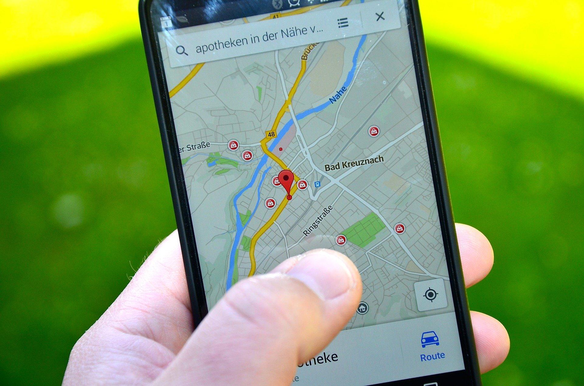 Smartphone mostra localização