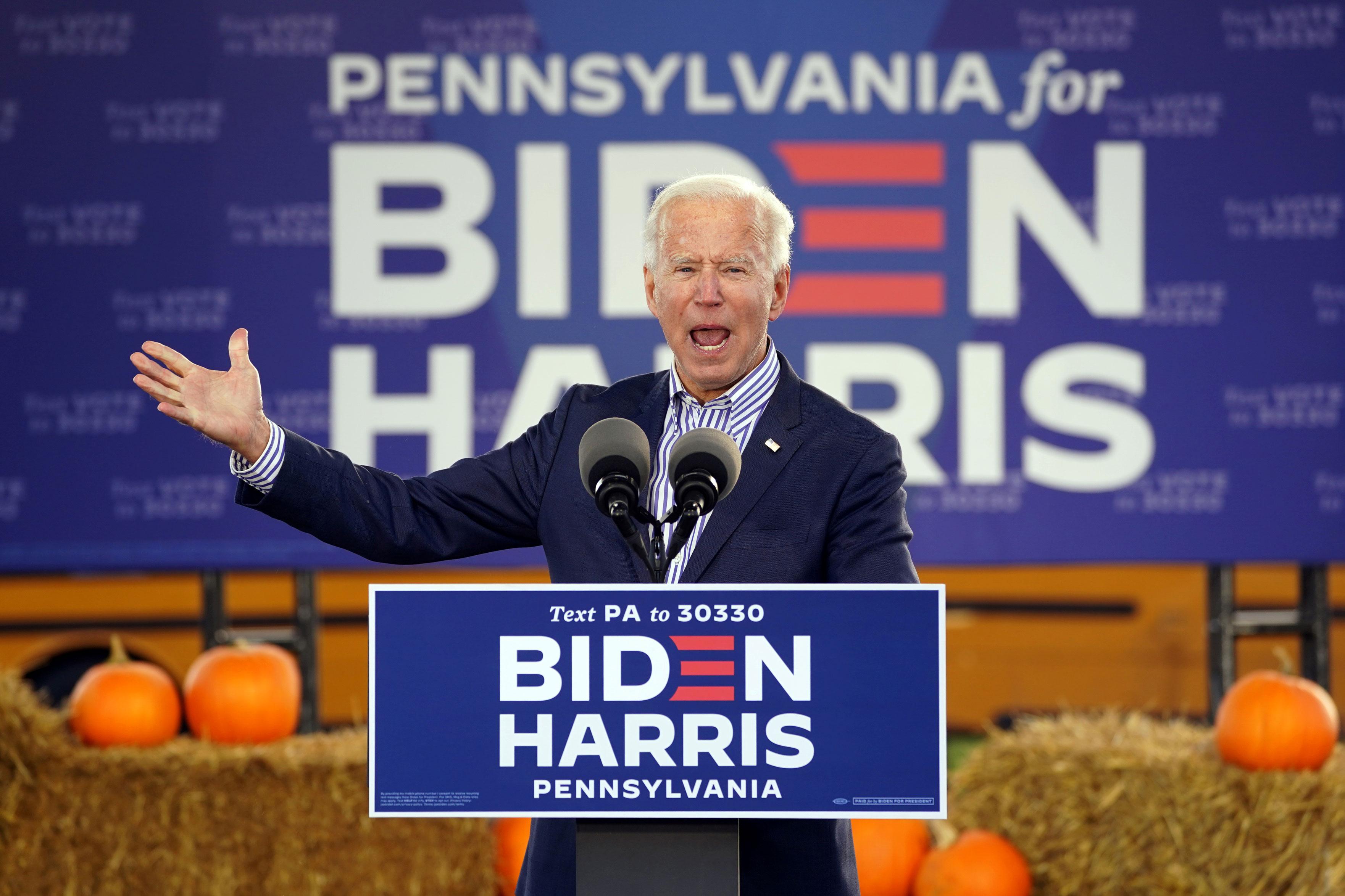 Joe Biden durante evento de campanha no estado da Pensilvânia, nos EUA