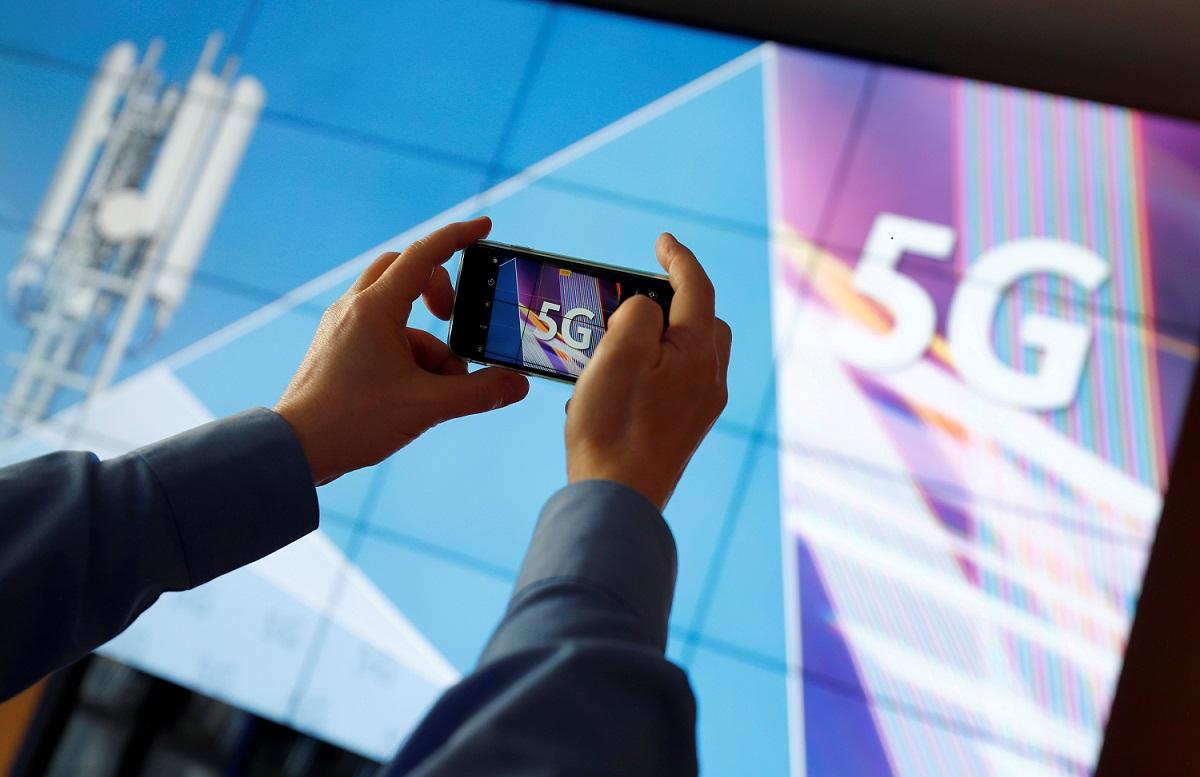 Vista de anúncio ligado à tecnologia 5G