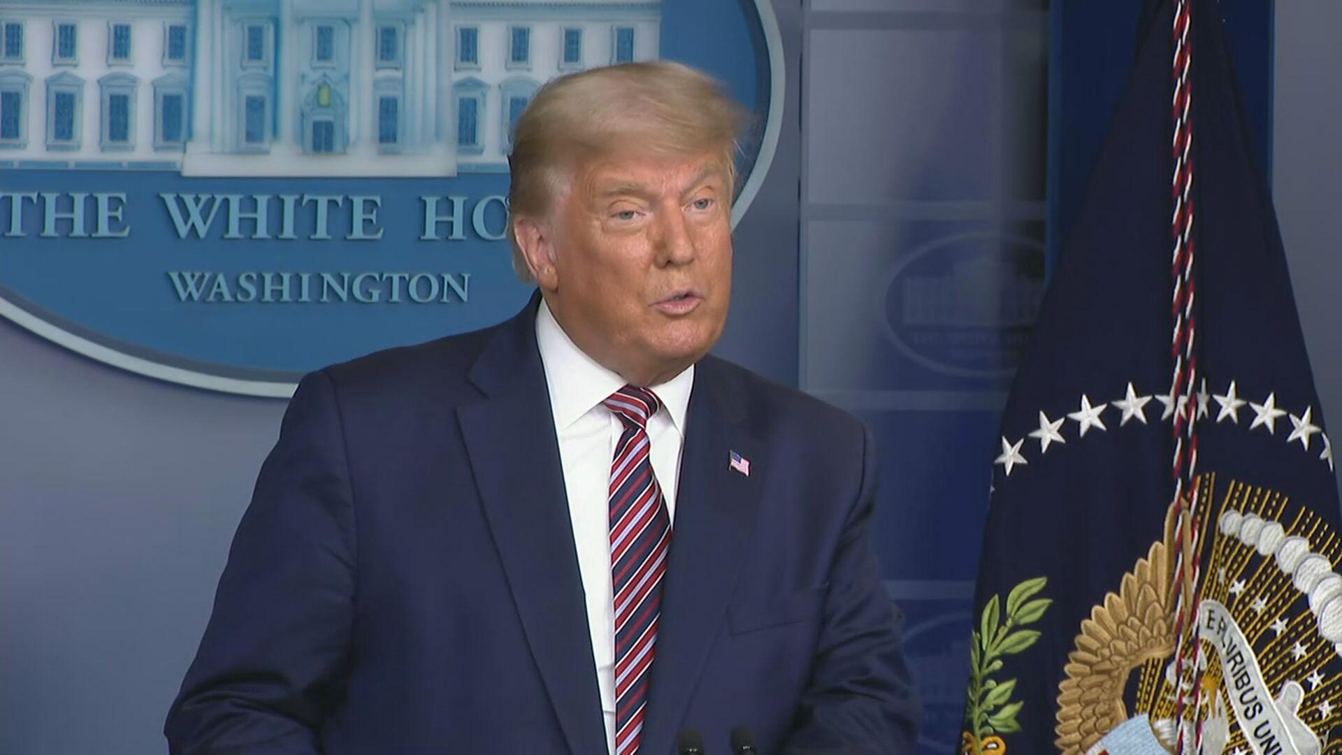 O republicano Donald Trump durante discurso na Casa Branca