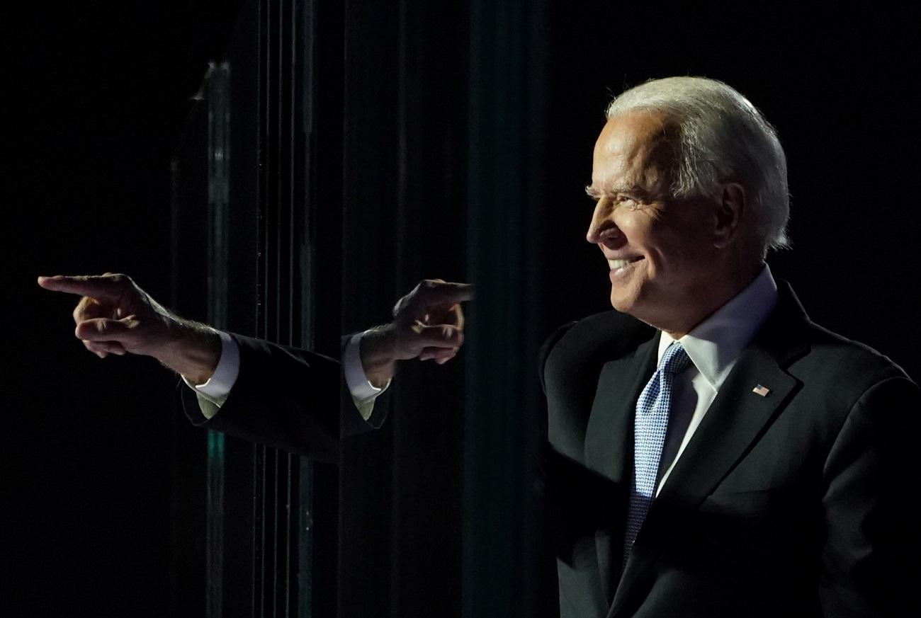 O democrata Joe Biden em discurso em Wilmington