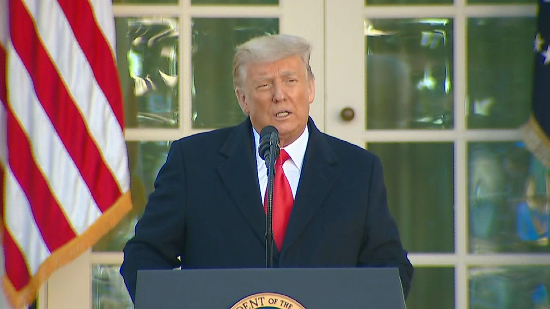 Donald Trump durante cerimônia de Ações de Graças