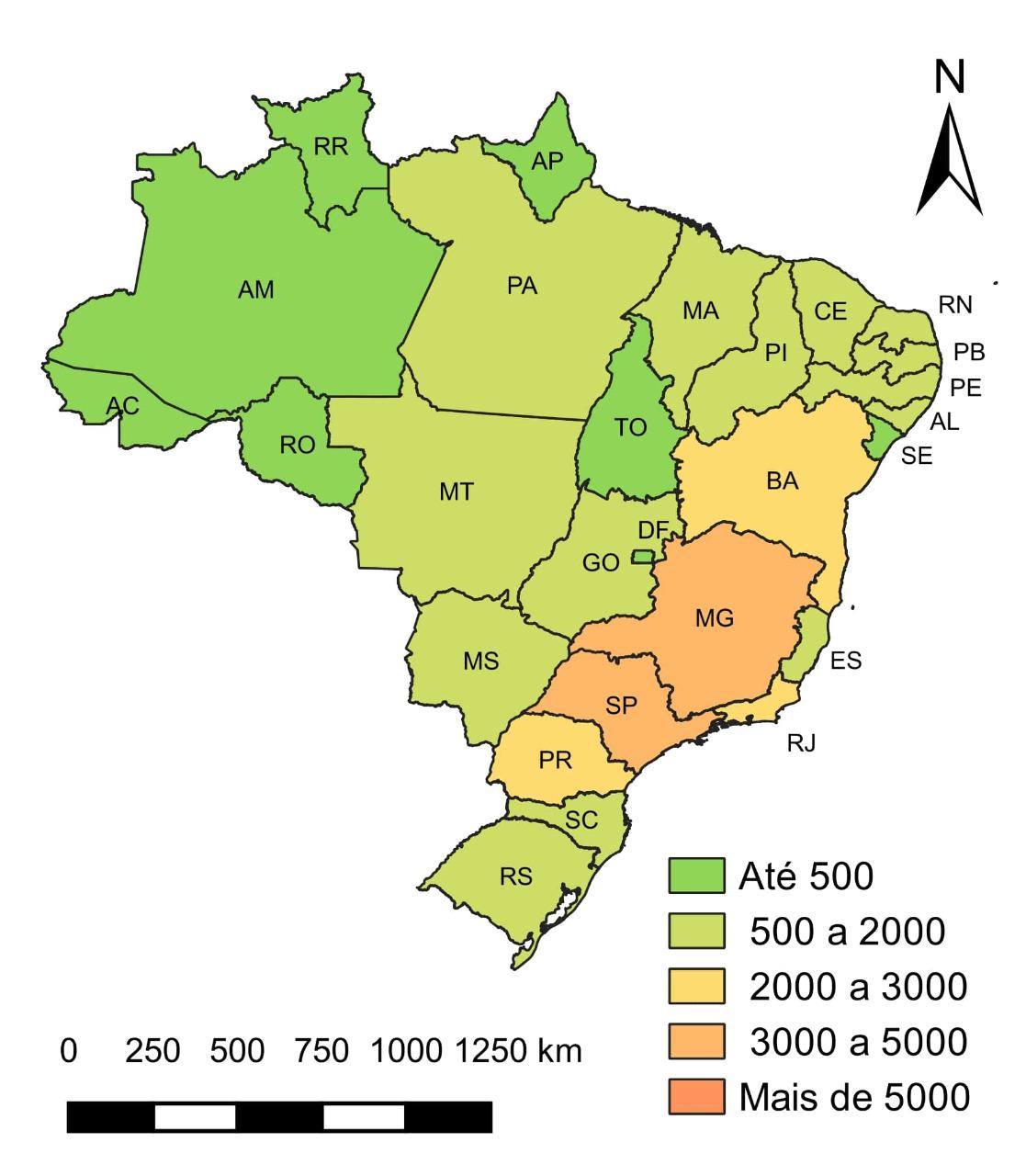 Mapa mostra número de mortes no trânsito por unidade da federação em 2018