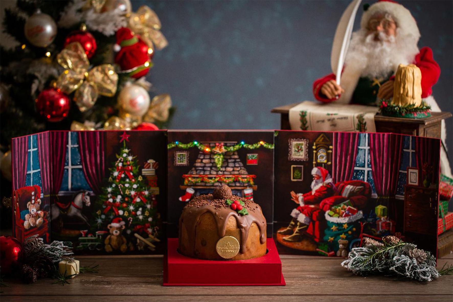 Panetone musical vem em caixa com luzes e que toca Jingle Bells