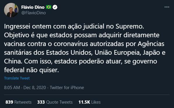 Tuíte do Flávio Dino sobre ação no STF