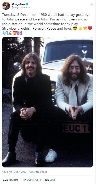 Homenagem de Ringo Starr a John Lennon