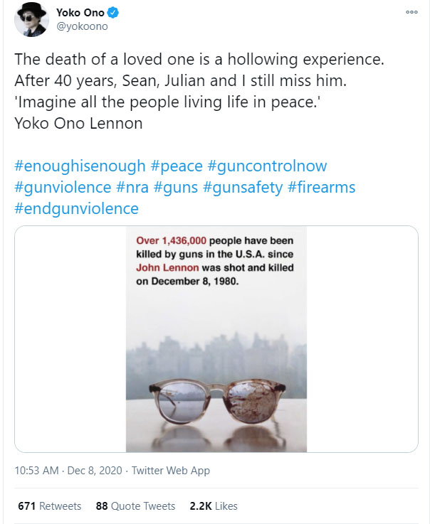 Homenagem de Yoko Ono a John Lennon