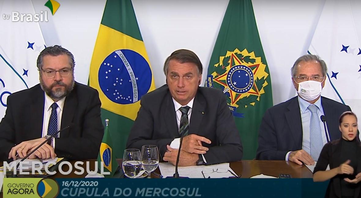 O presidente Jair Bolsonaro durante a Cúpula do Mercosul