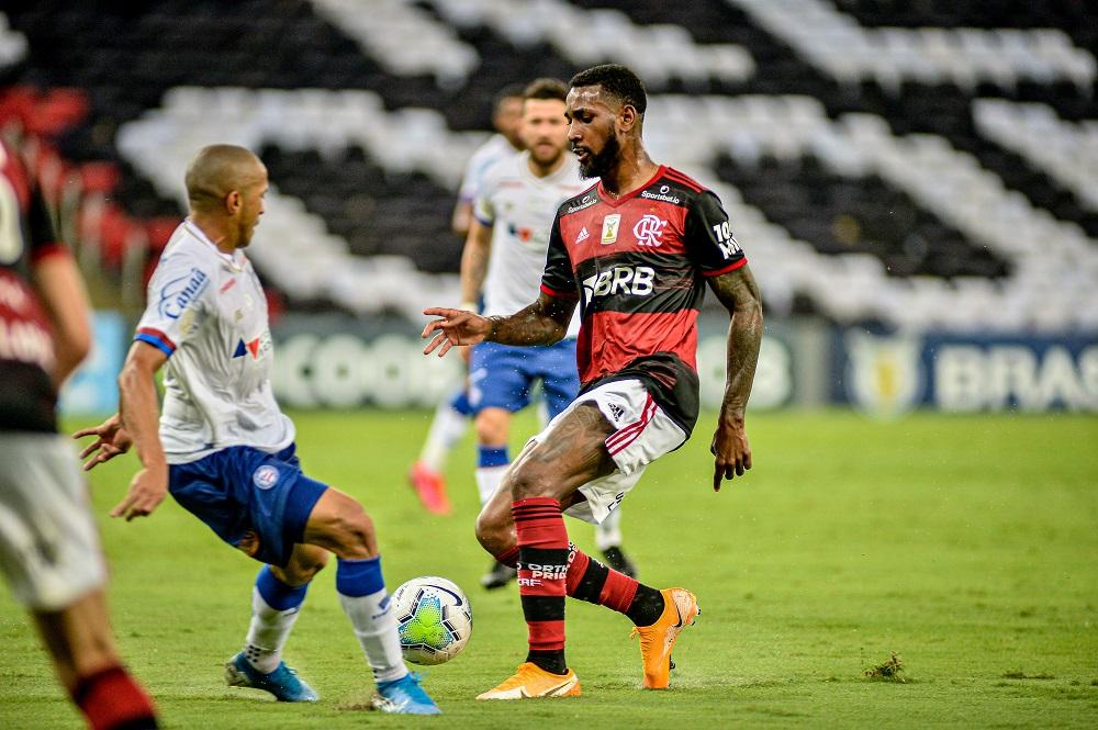 Gerson durante o jogo entre Flamengo x Bahia pelo Brasileirão