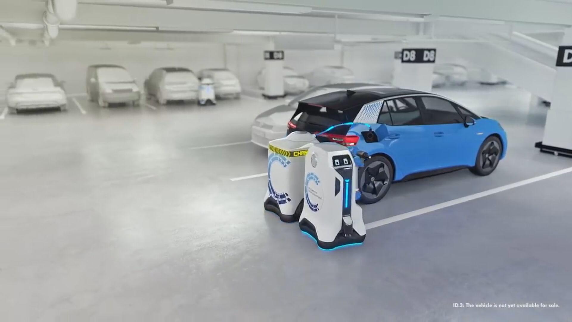 Volkswagen cria 'robô frentista' que recarrega carros elétricos