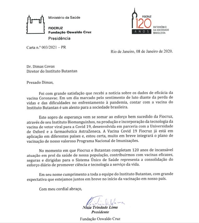 Carta enviada pela Fiocruz ao Instituto Butantan