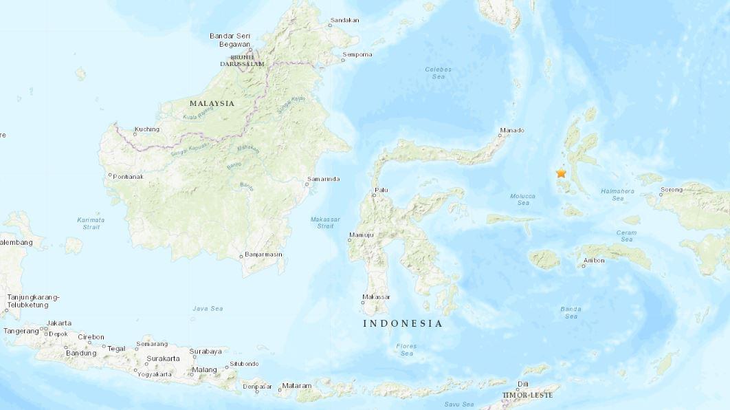 Estrela no mapa mostra localização da ilha de Sulawesi, na Indonésia