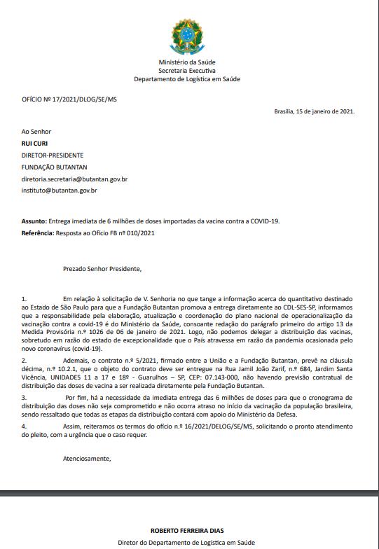 OFÍCIO SAÚDE BUTANTAN