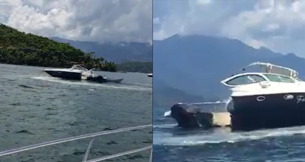 Lancha destruída após acidente em Angra dos Reis