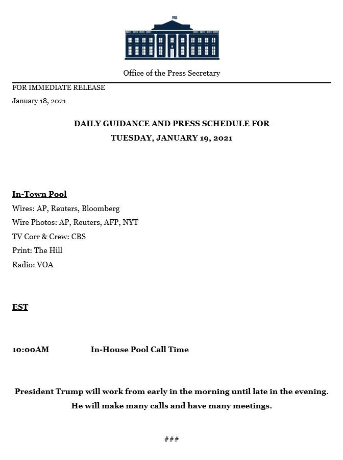 Agenda do presidente Donald Trump para terça-feira, 19 de janeiro de 2021