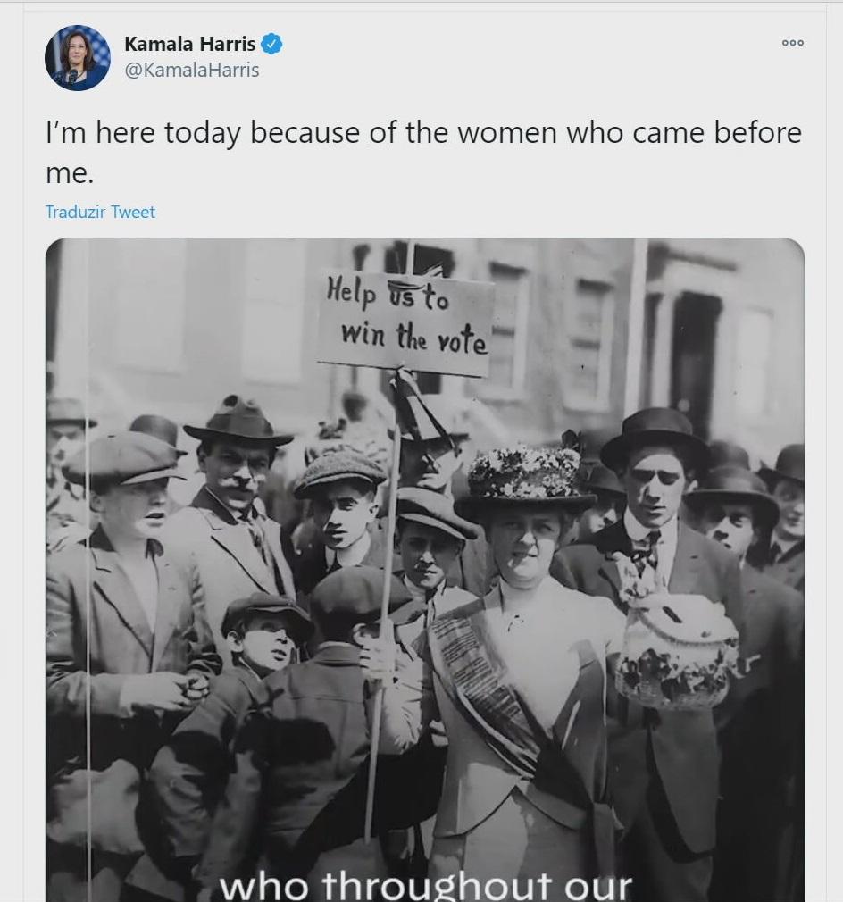Antes de tomar posse como vice-presidente dos EUA, Kamala Harris homenageou mulh