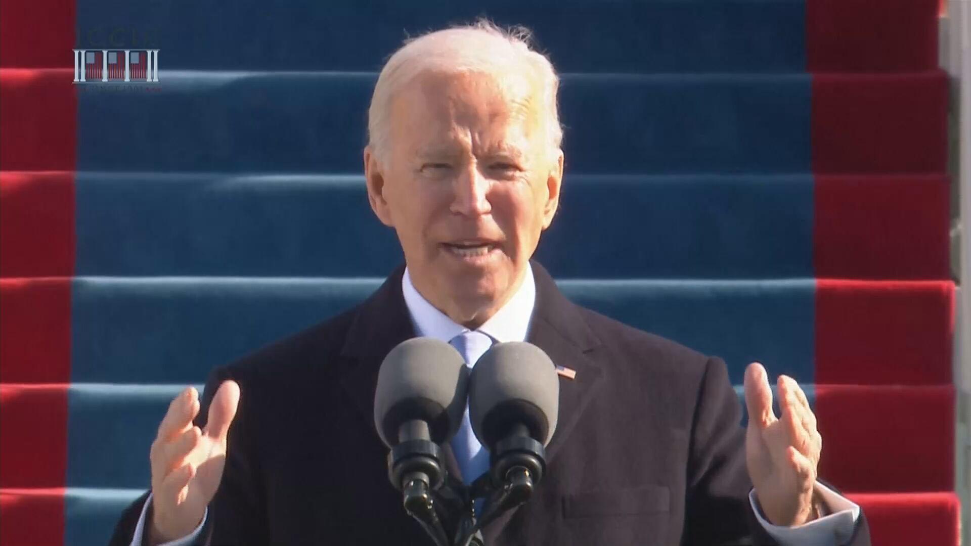 Joe Biden durante discurso de posse