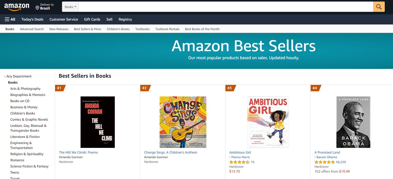 Livros de Amanda Gorman dominaram lista de mais vendidos da Amazon