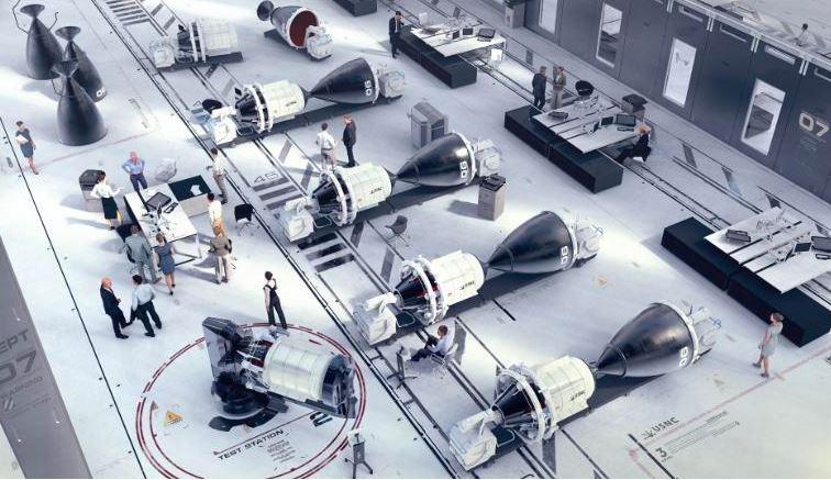Uma renderização dos sistemas USNC-Tech NTP em linha em um hangar de foguetes